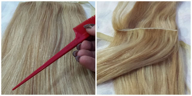separate the hair with comb or finger