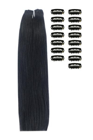 15 Inch DIY Remy Clip in Human Hair Extensions - Jet Black (#1)