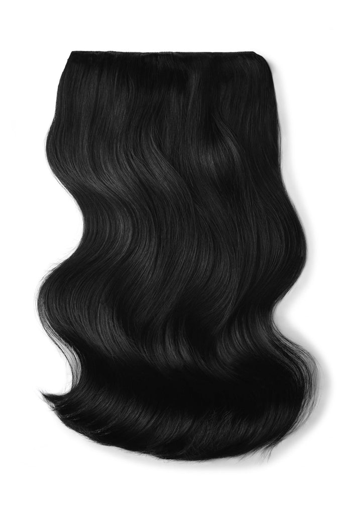 Double Wefted Full Head Remy Clip in Human Hair Extensions - Jet Black (#1)