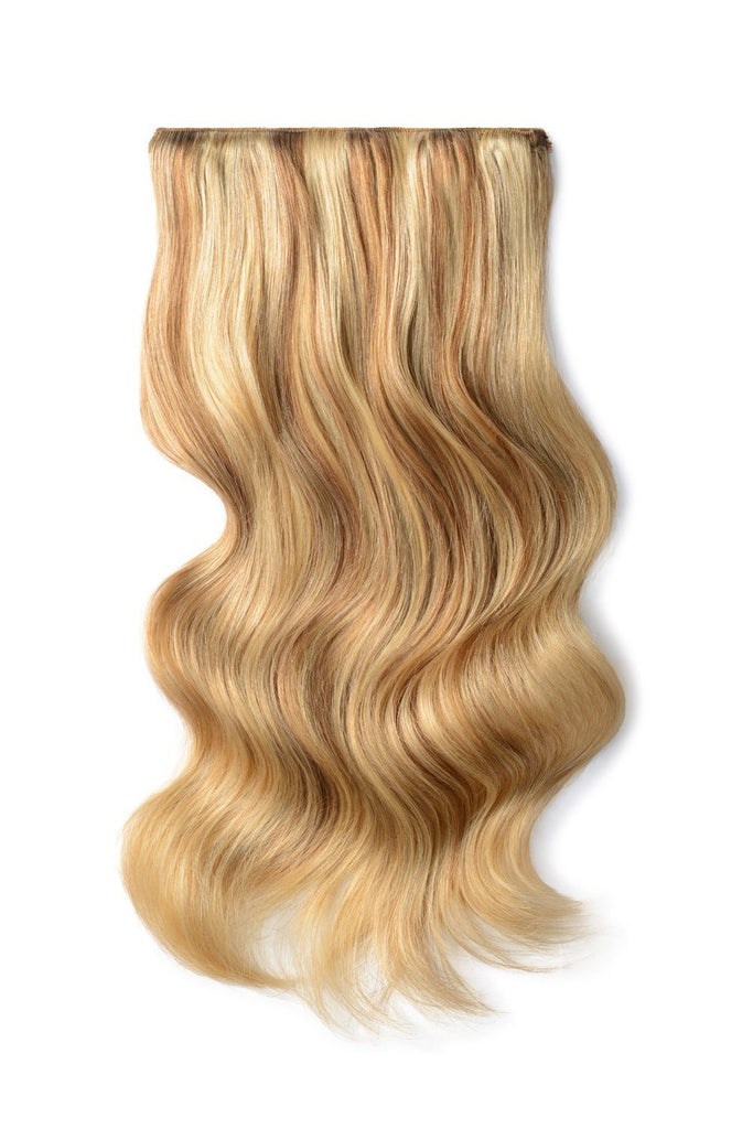 Double Wefted Full Head Remy Clip in Human Hair Extensions - Medium Golden Brown/Golden Blonde Mix (#10/16)