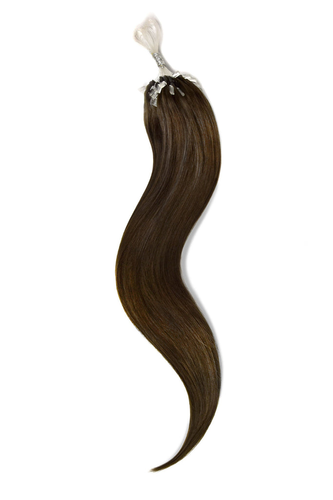 Micro Ring Loop Remy Human Hair Extensions - Medium Brown (#4)