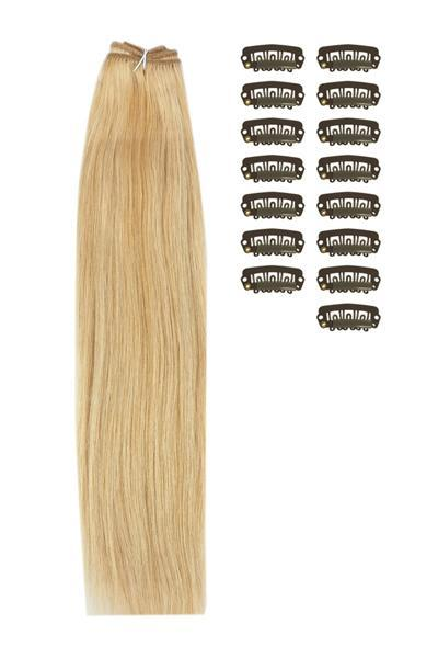 15 Inch DIY Remy Clip in Human Hair Extensions - Medium Golden Brown/Golden Blonde Mix (#10/16)