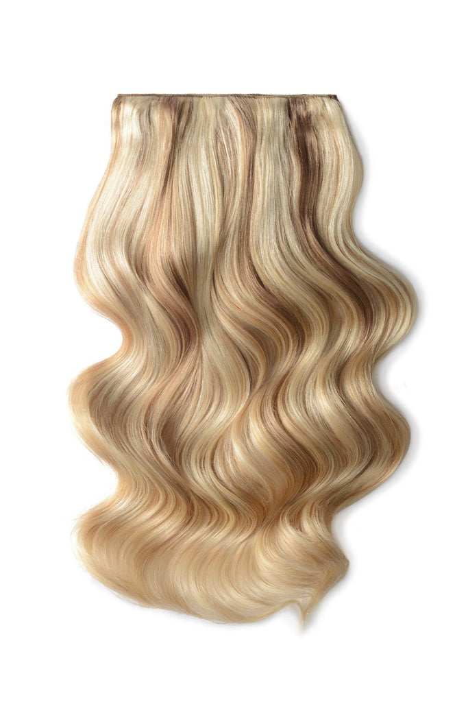 Double Wefted Full Head Remy Clip in Human Hair Extensions - Light Brown/Golden Blonde/Bleach Blonde Mix (#12/16/613)