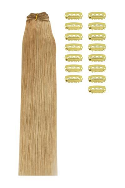 15 Inch DIY Remy Clip in Human Hair Extensions - Light Brown/Golden Blonde/Bleach Blonde Mix (#12/16/613)