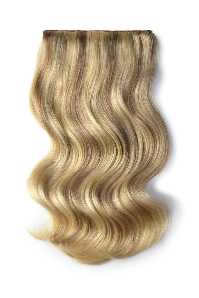 Double Wefted Full Head Remy Clip in Human Hair Extensions - Dark Blonde/Ash Blonde Mix (#14/22)