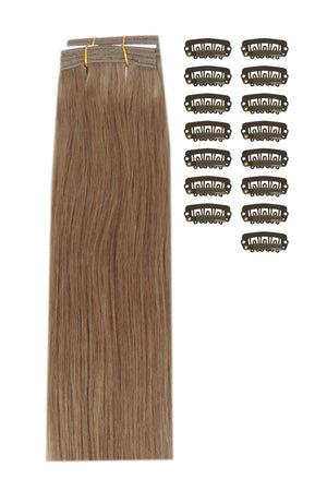 15 Inch DIY Remy Clip in Human Hair Extensions - Dark Blonde (#14)