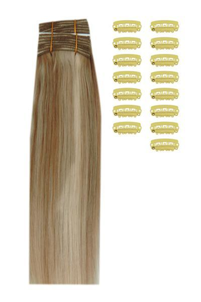 15 Inch DIY Remy Clip in Human Hair Extensions - Dark Blonde/Ash Blonde Mix (#14/22)