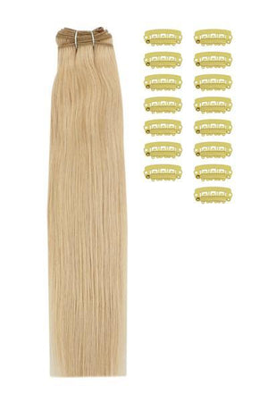 15 Inch DIY Remy Clip in Human Hair Extensions - Light Golden Blonde (#16)
