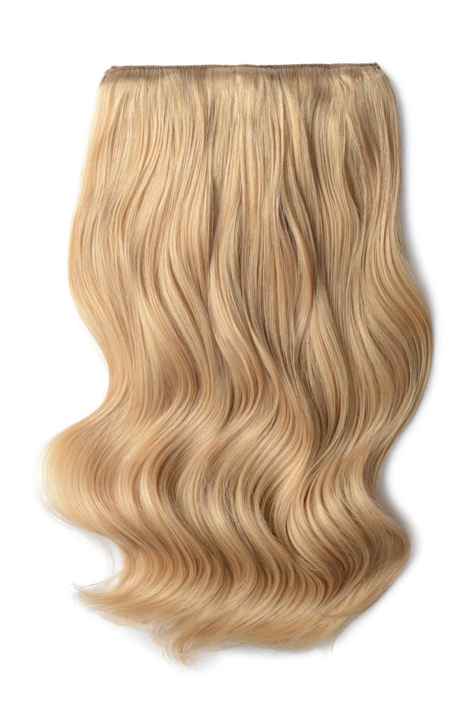 Double Wefted Full Head Remy Clip in Human Hair Extensions - Light Golden Blonde (#16)