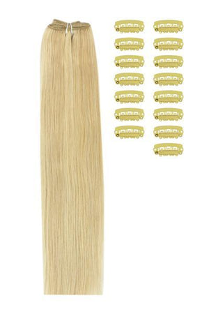 15 Inch DIY Remy Clip in Human Hair Extensions - Golden Blonde/Bleach Blonde Mix (#16/613)