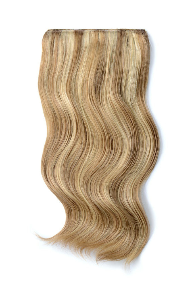 Double Wefted Full Head Remy Clip in Human Hair Extensions - Lightest Brown/Bleach Blonde Mix (#18/613)