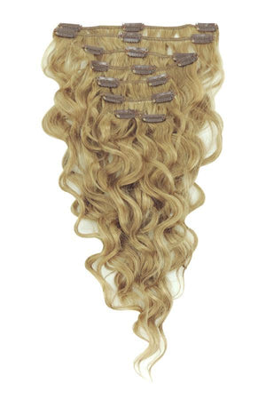 14 Inch Wavy Full Head Remy Clip in Human Hair Extensions - Lightest Brown (#18)