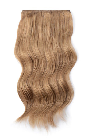 Double Wefted Full Head Remy Clip in Human Hair Extensions - Lightest Brown (#18)
