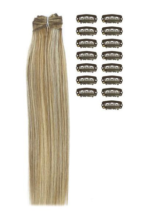 15 Inch DIY Remy Clip in Human Hair Extensions - Lightest Brown/Bleach Blonde Mix (#18/613)