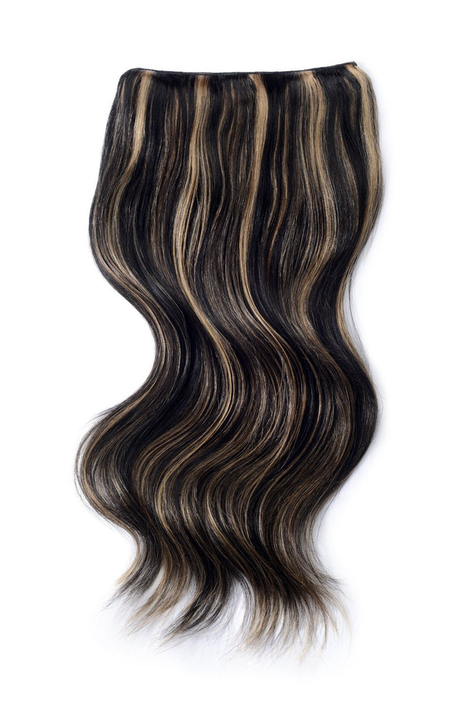 Double Wefted Full Head Remy Clip in Human Hair Extensions - Natural Black/Blonde Mix (#1B/27)