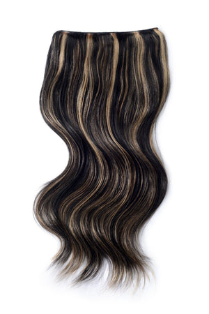 Double Wefted Full Head Remy Clip in Human Hair Extensions - Natural Black/Blonde Mix (#1B/613)