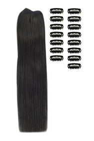 15 Inch DIY Remy Clip in Human Hair Extensions - Off/Natural Black (#1B)