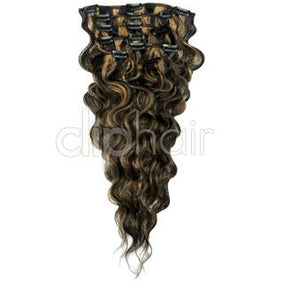 14 Inch Wavy Full Head Remy Clip in Human Hair Extensions - Natural Black/Blonde Mix (#1B/27)