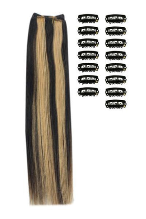 15 Inch DIY Remy Clip in Human Hair Extensions - Natural Black/Blonde Mix (#1B/27)