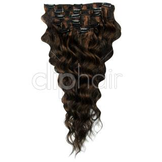 14 Inch Wavy Full Head Remy Clip in Human Hair Extensions - Natural Black/Auburn Mix (#1B/30)