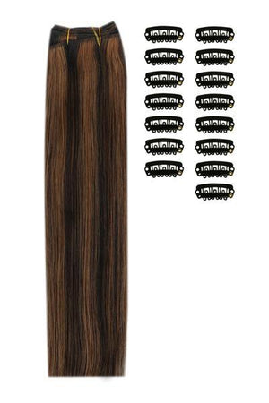 15 Inch DIY Remy Clip in Human Hair Extensions - Natural Black/Auburn Mix (#1B/30)