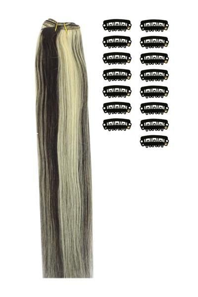 15 Inch DIY Remy Clip in Human Hair Extensions - Natural Black/Blonde Mix (#1B/613)