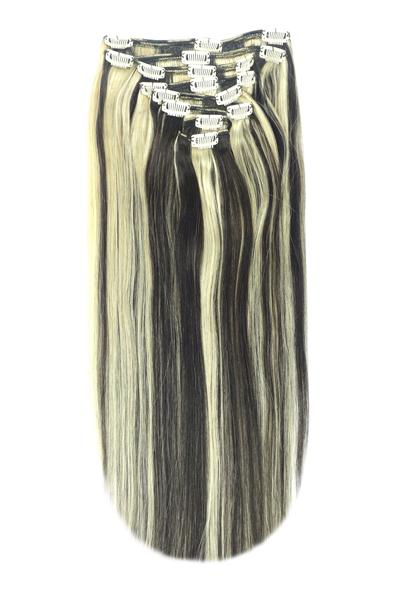 Full Head Remy Clip in Human Hair Extensions - Natural Black/Blonde Mix (#1B/613)