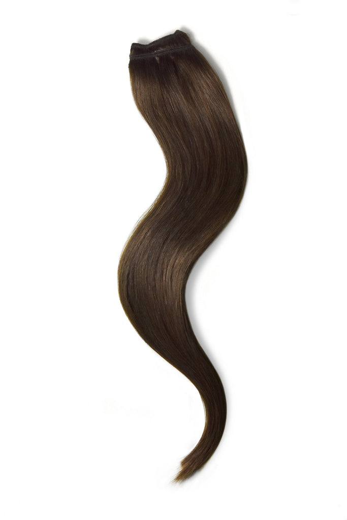 One Piece Top-up Remy Clip in Human Hair Extensions - Medium Brown (#4)