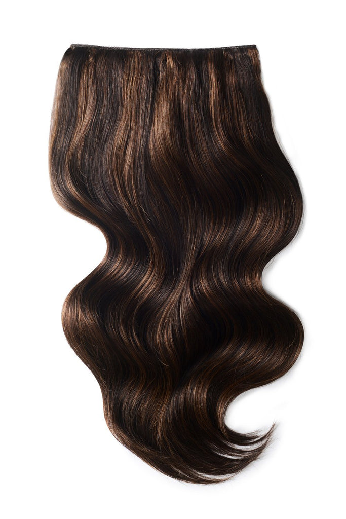 Double Wefted Full Head Remy Clip in Human Hair Extensions - Brown Mix (#2/6)