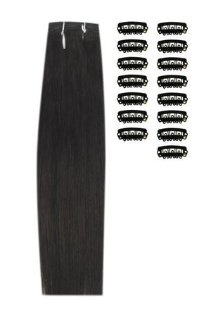15 Inch DIY Remy Clip in Human Hair Extensions - Darkest Brown (#2)