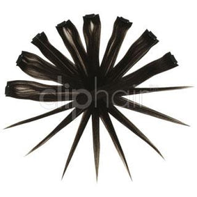 15 Inch Remy Clip in Human Hair Extensions Highlights / Streaks - Darkest Brown (#2)