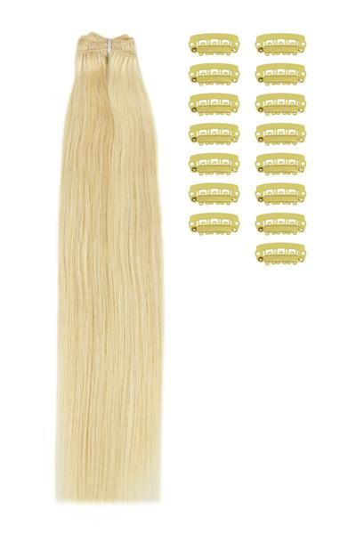 15 Inch DIY Remy Clip in Human Hair Extensions - Ash Blonde/Bleach Blonde Mix (#22/613)