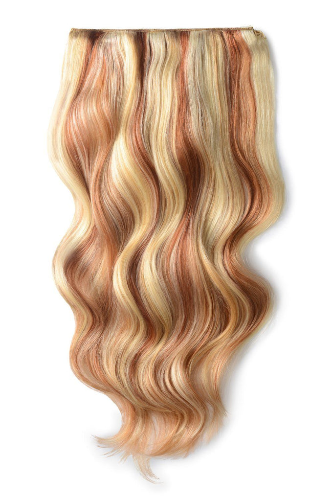 Double Wefted Full Head Remy Clip in Human Hair Extensions - Strawberry Blonde/Auburn/Bleach Blonde Mix (#27/33/613)