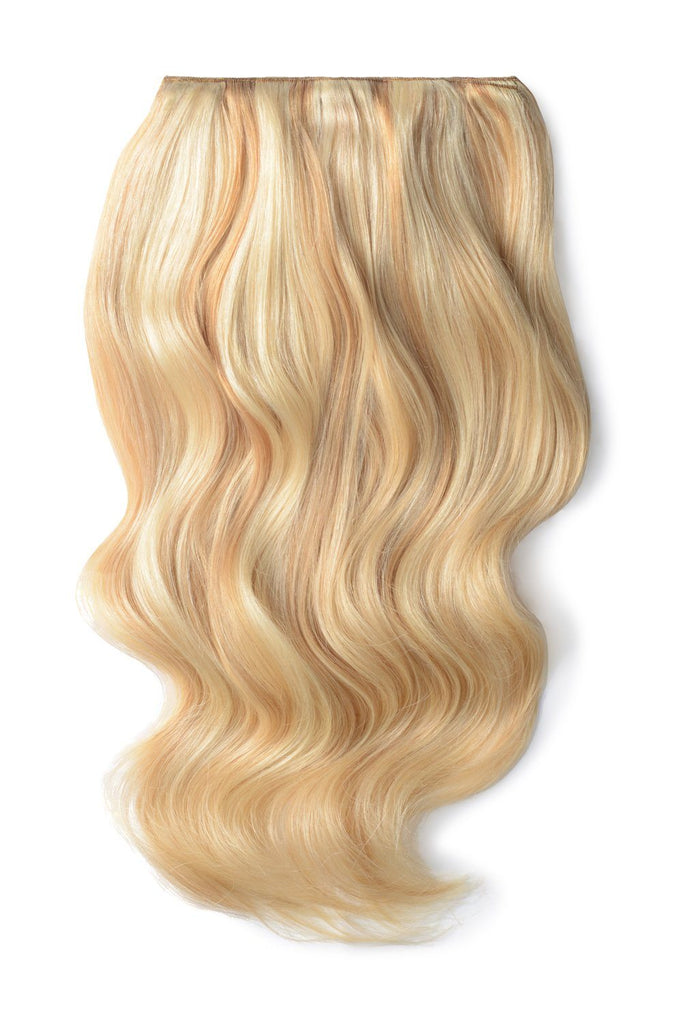 Double Wefted Full Head Remy Clip in Human Hair Extensions - Strawberry Blonde/Bleach Blonde Mix (#27/613)