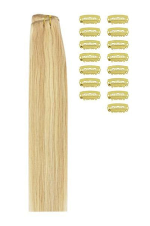 15 Inch DIY Remy Clip in Human Hair Extensions - Strawberry Blonde/Bleach Blonde Mix (#27/613)