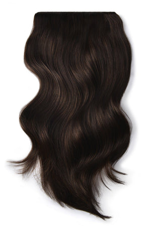 Double Wefted Full Head Remy Clip in Human Hair Extensions - Darkest Brown (#2)