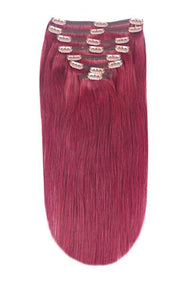 Full Head Remy Clip in Human Hair Extensions - Plum/Cherry Red (#530)