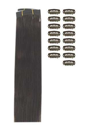15 Inch DIY Remy Clip in Human Hair Extensions - Dark Brown (#3)