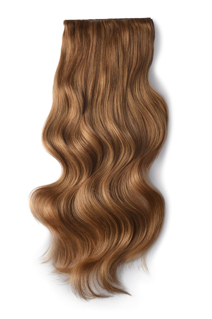Double Wefted Full Head Remy Clip in Human Hair Extensions - Light Auburn (#30)