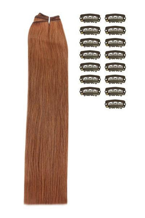 15 Inch DIY Remy Clip in Human Hair Extensions - Dark Auburn / Copper Red (#33)