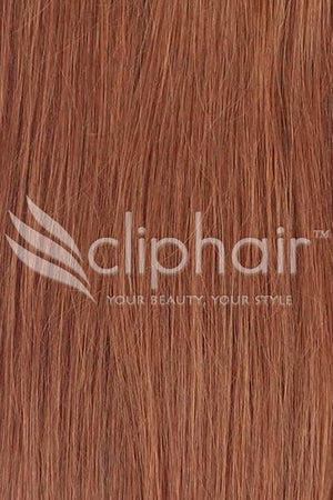 15 Inch Remy Clip in Human Hair Extensions Highlights / Streaks - Dark Auburn/Copper Red (#33)
