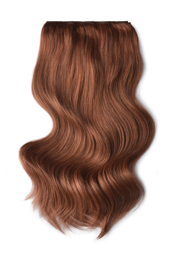 Double Wefted Full Head Remy Clip in Human Hair Extensions -  Dark Auburn/Copper Red (#33)