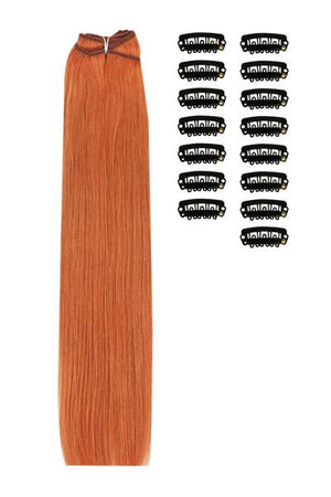 15 Inch DIY Remy Clip in Human Hair Extensions - Ginger Red/Natural Red (#350)