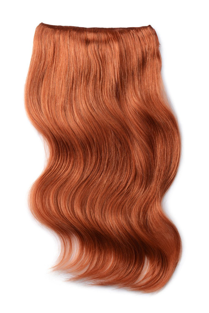 Double Wefted Full Head Remy Clip in Human Hair Extensions - Ginger Red/Natural Red (#350)