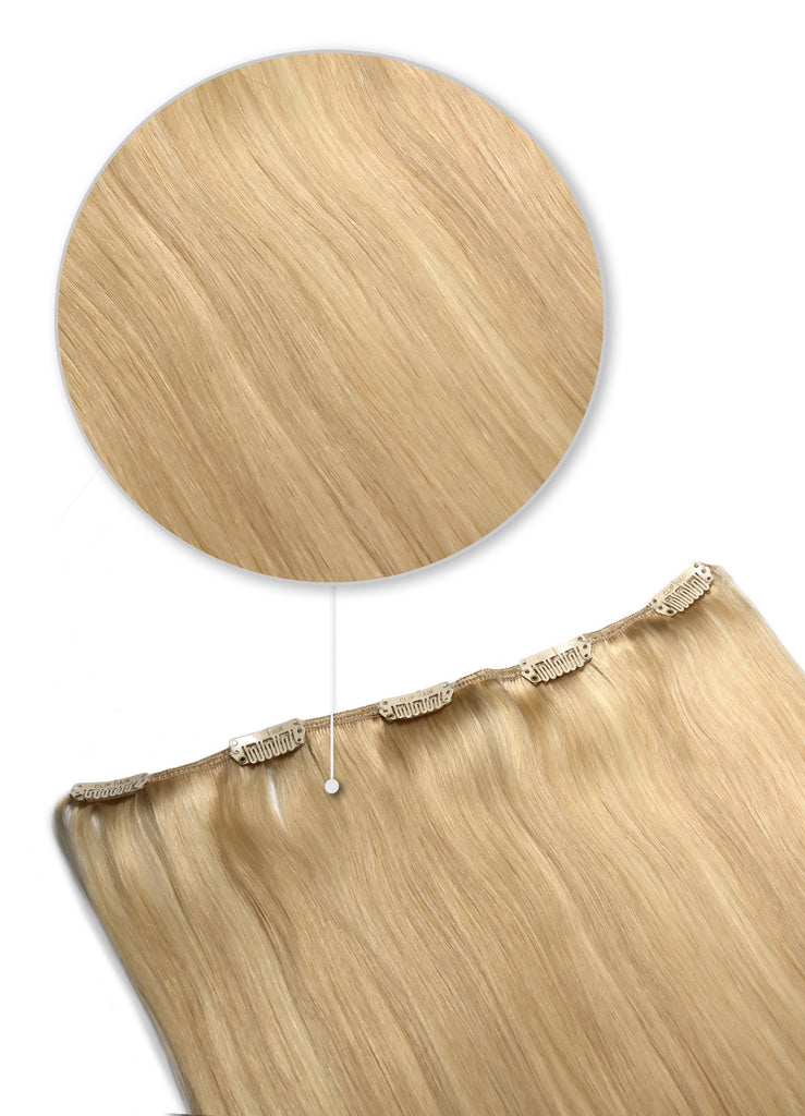 One Piece Top-up Remy Clip in Human Hair Extensions - Light Golden Blonde (#16)
