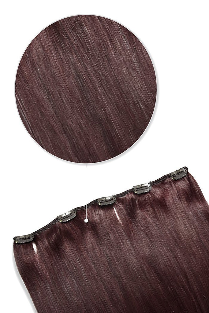 one piece hair extensions clip in - mahogany red