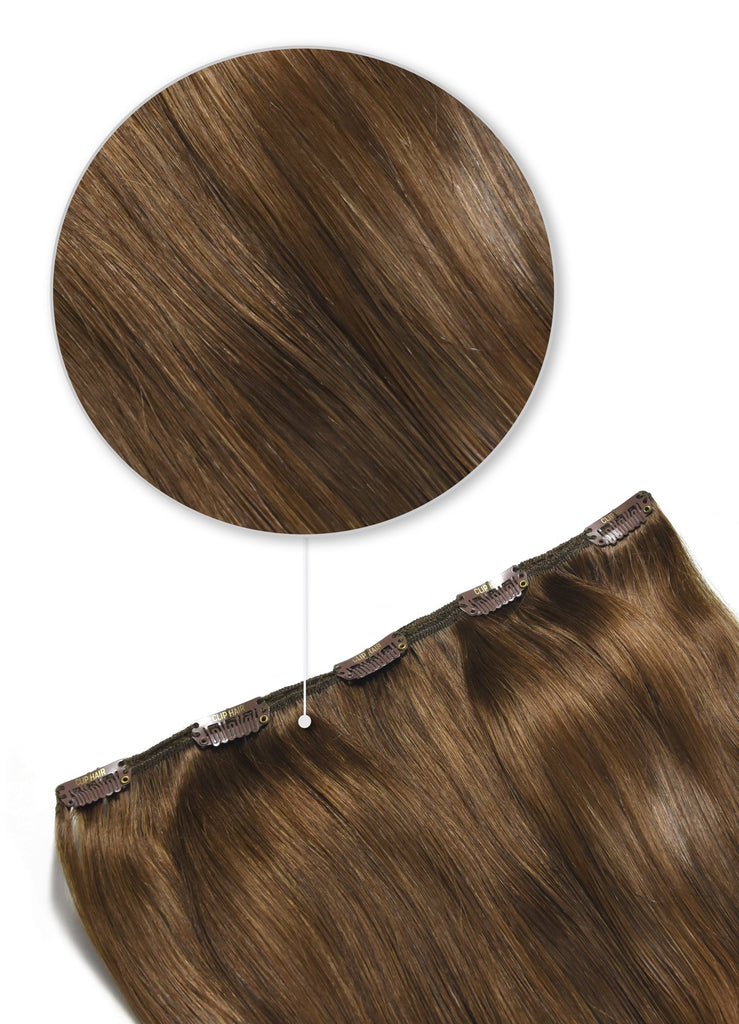 one piece hair extensions clip in top up toffee brown