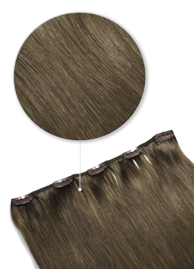 one piece clip in human hair extensions ash brown shade 9