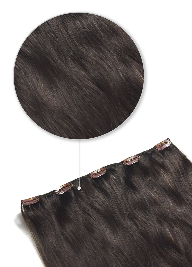 One Piece Top-up Remy Clip in Human Hair Extensions - Darkest Brown (#2) One Piece Clip In Hair Extensions cliphair