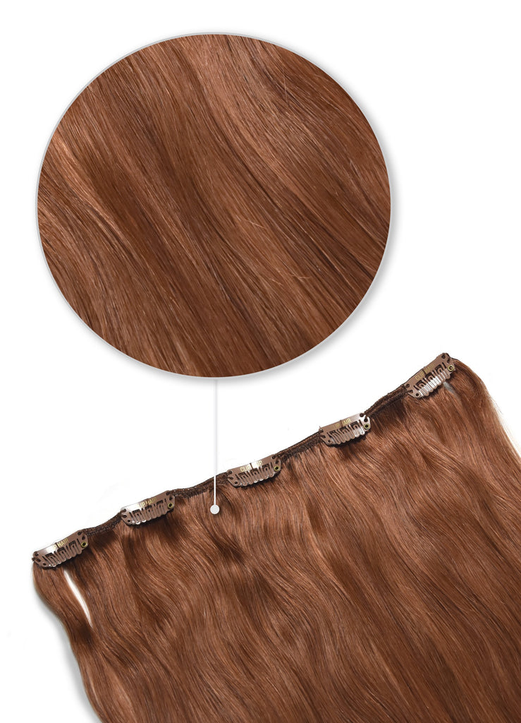 clip in human hair extensions one piece dark auburn